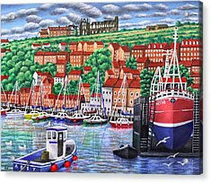 Whitby Harbour Acrylic Print by Ronald Haber