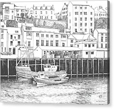 Whitby Harbour Acrylic Print by Shirley Miller