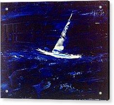 White Boat - Dark Sea And Sky Acrylic Print