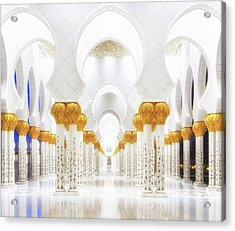 White And Gold Acrylic Print by Mohamed Raof