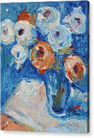 White And Orange Roses In Sea Of Blue Oil Painting Bertram Poole Acrylic Print by Thomas Bertram POOLE