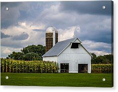 White Barn And Silo With Storm Clouds Acrylic Print