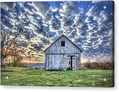 White Barn At Sunrise Acrylic Print