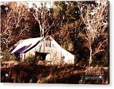 White Barn In Autumn Acrylic Print by Lesa Fine