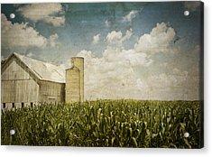 White Barn Acrylic Print by Michael Huddleston
