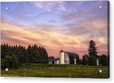 White Barn Sunset Acrylic Print
