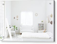 White Bedroom Acrylic Print by Bloom Image