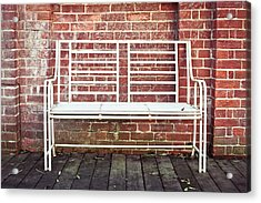 White Bench Acrylic Print