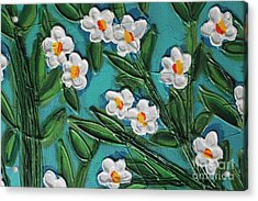 Acrylic Print featuring the painting White Blooms 2 by Cynthia Snyder