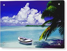 White Boat On A Tropical Island Acrylic Print