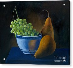 White Bowl With Grapes Acrylic Print by Stephanie Allison