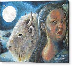 White Buffalo Portrait Acrylic Print by Samantha Geernaert