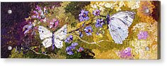 White Butterflies Impressionist Oil Painting Acrylic Print