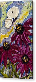White Butterfly And Purple Flowers Acrylic Print by Paris Wyatt Llanso