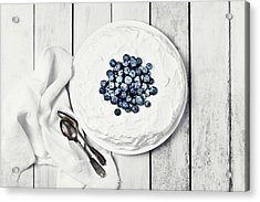 White Cake With Blueberries Acrylic Print by Claudia Totir