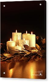 White Candles With Gold Leaf Garland  Acrylic Print by Sandra Cunningham