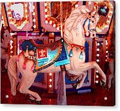 White Carousel Horse Acrylic Print