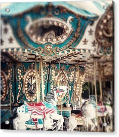White Carousel Horse On Teal Merry Go Round Acrylic Print by Lisa Russo