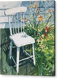 Acrylic Print featuring the painting White Chair And Day Lilies by Joy Nichols