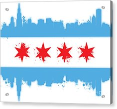 White Chicago Flag Acrylic Print