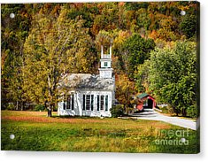 White Church And Red Covered Bridge Acrylic Print by George Oze