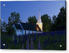White Church At Dusk In A Field Of Lupines Acrylic Print