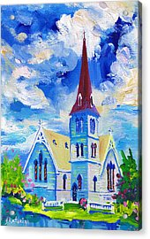 White Church Blue Sky Acrylic Print