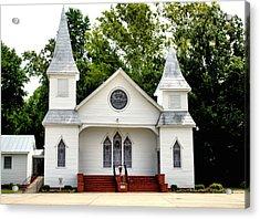 White Church Building Acrylic Print by Carolyn Ricks