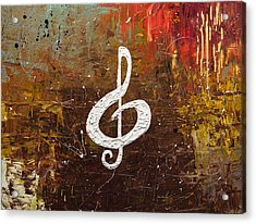 White Clef Acrylic Print by Carmen Guedez