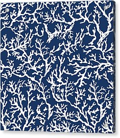 White Coral On Blue Pattern Acrylic Print by Julie Derice