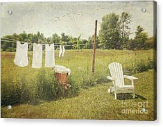 White Cotton Clothes Drying On A Wash Line  Acrylic Print by Sandra Cunningham