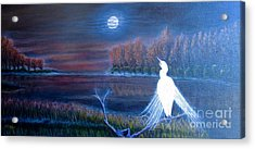 White Crane Dancing In The Light Of The Moon Acrylic Print