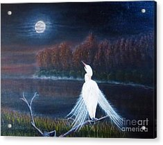White Crane Dancing Under The Moonlight Cropped Acrylic Print