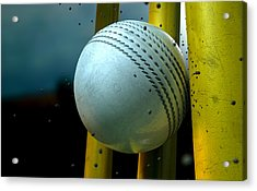 White Cricket Ball And Wickets Acrylic Print by Allan Swart