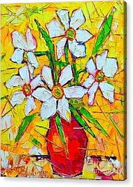 White Daffodils  Acrylic Print by Ana Maria Edulescu