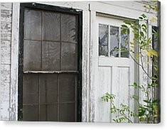 White Door Black Window Screen Acrylic Print by Paulette Maffucci
