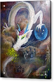 Acrylic Print featuring the painting White Dragon by Jieming Wang