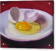 Acrylic Print featuring the painting White Egg Study by LaVonne Hand