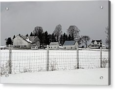 Acrylic Print featuring the photograph White Farm On A Gray Day  by Gene Walls