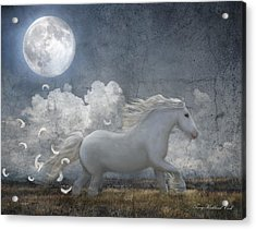 White Feathered Moon Acrylic Print by Terry Kirkland Cook