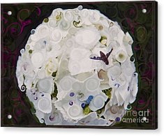 Acrylic Print featuring the painting White Flower And Friendly Bee Mixed Media Painting by Omaste Witkowski