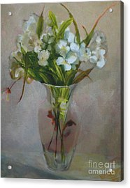 White Flowers        Copyrighted Acrylic Print by Kathleen Hoekstra
