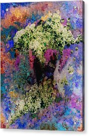 White Flowers In A Vase Acrylic Print by Lee Green