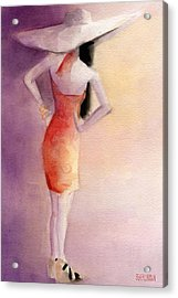 White Hat And Orange Sundress Fashion Illustration Art Print Acrylic Print by Beverly Brown