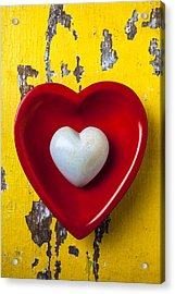 White Heart Red Heart Acrylic Print by Garry Gay