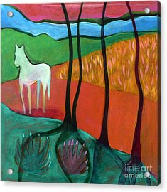 Acrylic Print featuring the painting White Horse by Elizabeth Fontaine-Barr