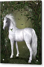 White Horse In The Woods Acrylic Print