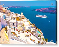 White Houses Of Santorini Acrylic Print by Lanjee Chee