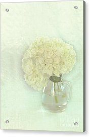 White Hydrangeas Acrylic Print by Kay Pickens