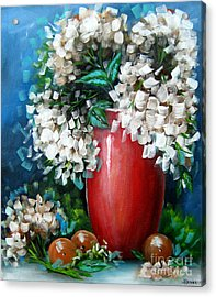 Acrylic Print featuring the painting White Hydrangeas by Patrice Torrillo